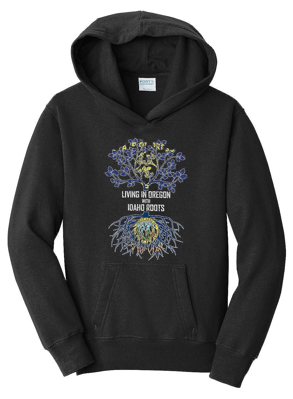 Tenacitee Girls Living in Oregon with Idaho Roots Hooded Sweatshirt