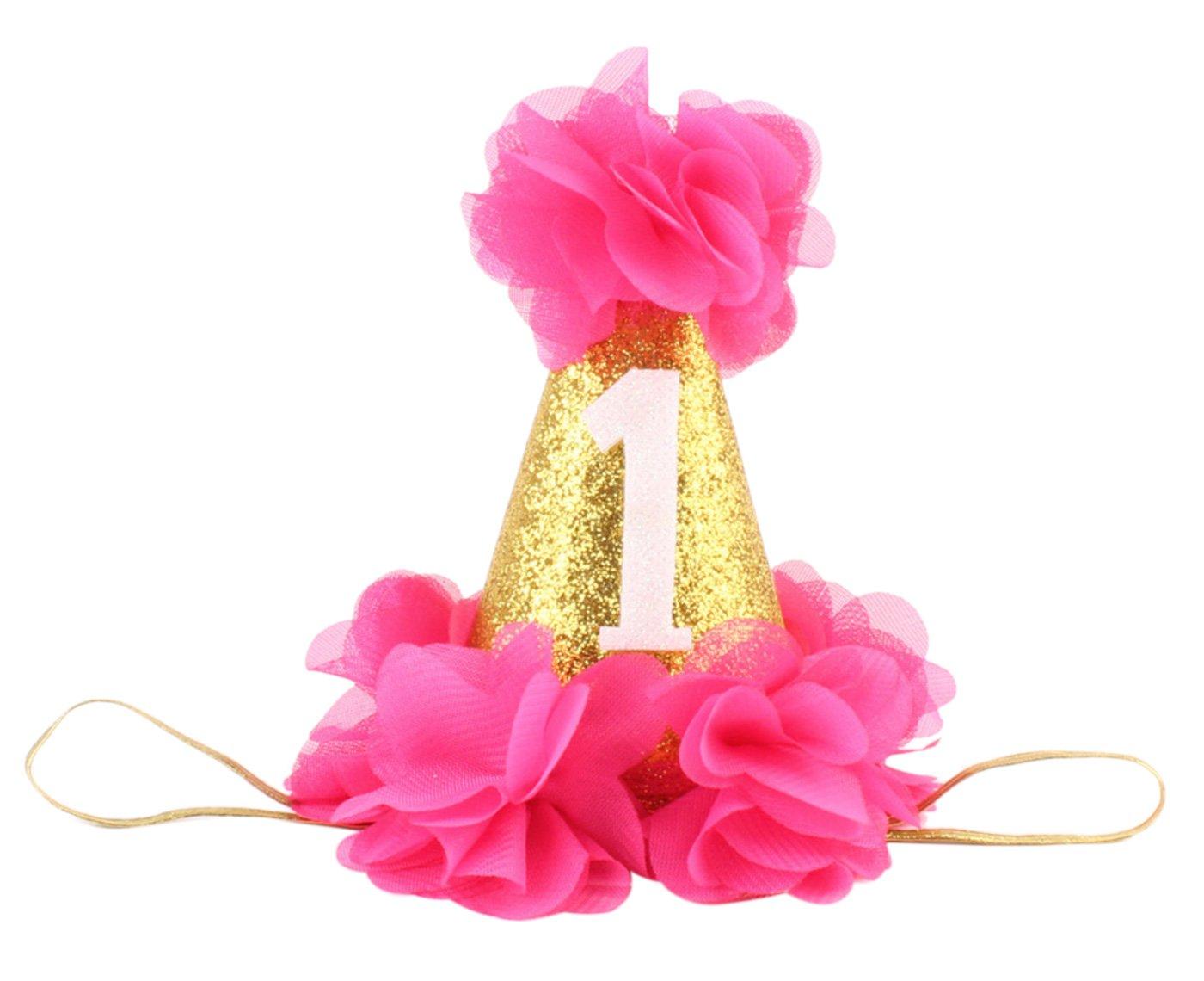 Infant Baby 1st Birthday Headband Sparkling Wedding Party Bridal Crown Delicate Prom Tiara Hair Accessories Ornaments with Golden Headband Pink Aivtalk FHBK1011