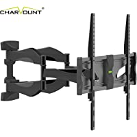 """Charmount Full Motion TV Wall Mount with Dual Arms on One Stud,Fits 40-75"""" LED, LCD,OLED 4K Flat Panel TV, up to VESA 600x400mm and 45kg, Swivel and Tilt"""