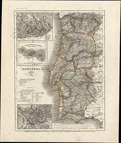 portugal-azores-lisbon-oporto-city-plans-1849-meyer-scarce-detailed-antique-map