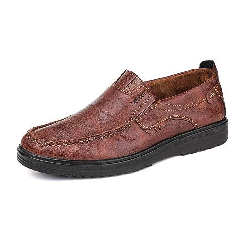 fcfd8271b3 gracosy Mocassini Casual da Uomo Scarpe da Lavoro Smart Classico Ufficio  Comfort Mocassini in Pelle Slip On Traspirante Casuale Scarpe Piatte  Loafers ...
