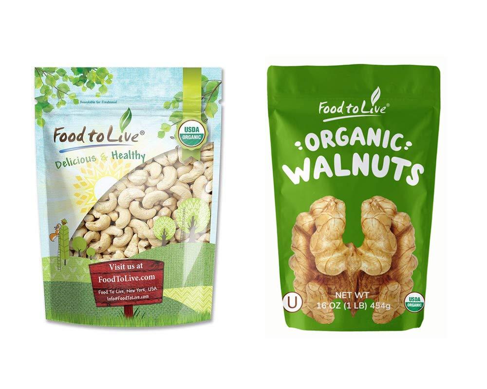 Organic Nuts Bundle with Organic Cashews W-240, 1 Pound and Organic Walnuts, 1 Pound — Whole, Raw