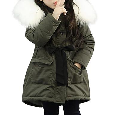 näher an lässige Schuhe 100% Zufriedenheitsgarantie Kobay-baby Mädchen Fell Kapuze Tops Jacke gepolstert Mantel Kinder lang  Dick Warme Jacke Parkas