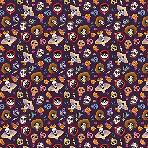 Disney Coco and Friends Head Toss in Very Deep Purple 100% Cotton Fabric by The Yard