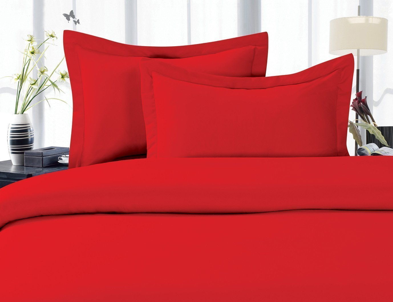 3-Piece Bed Sheet set, Deep Pocket, HypoAllergenic - Twin Red