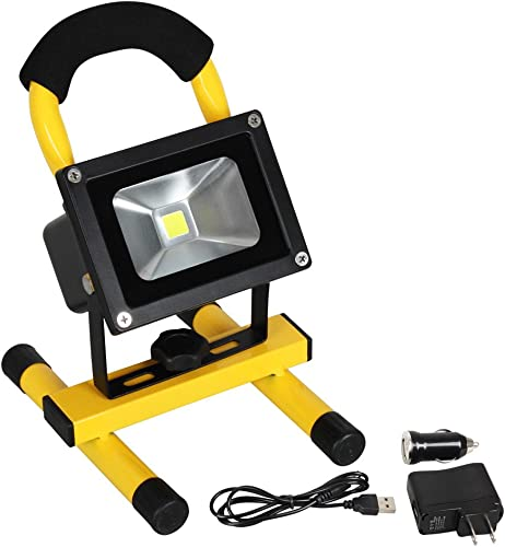 10W Rechargeable LED Portable Work Flood Light, T-SUNRISE IP65 Waterproof Security Emergency Lights for Outdoor Camping Fishing Walking the dog with Adapter and Car Charger 6000K White