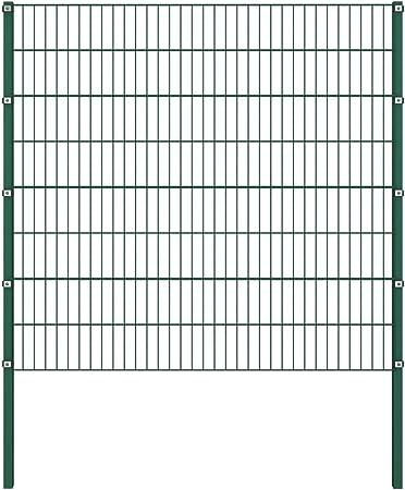 Festnight Panel de Valla con Postes Hierro Vallas para Jardin Metalicas Verde 1,7x1,6 m: Amazon.es: Hogar