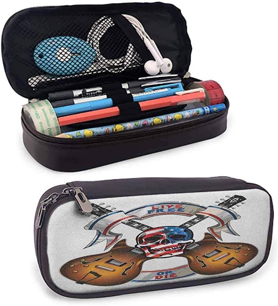Bolso cosmético de guitarra Guitarras eléctricas cruzadas con calavera Bandera americana Live Free or Die Biker Culture Escritorio Caja de almacenamiento