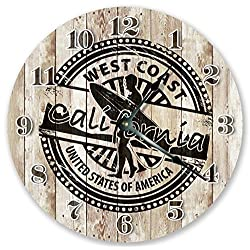10.5 WEST COAST CALI RUBBER STAMP CLOCK - Large 10.5 Wall Clock - Home Décor Clock