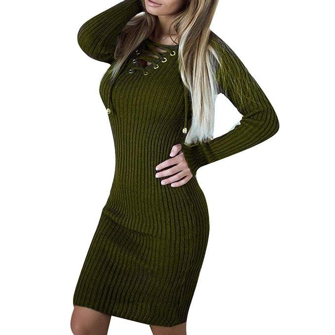Bodycon Dress Ladies Elegant Vendaje Vestidos Slim Ropa V Fit Cuello Vintage Largo Casual Invierno Otoño