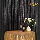 LQIAO Sequin Curtain 10X10FT-Black Sequin Backdrop Wedding Photo Booth Door Window Curtain for Halloween Party Wedding Decoration