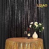 LQIAO Sequin Curtain 10X8FT-Black Sequin Backdrop Wedding Photo Booth Door Window Curtain for Halloween Party Wedding Decoration