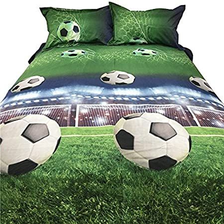 SODIAL Juegos de Sabanas de cama de patron de Futbol 3D Funda nordica de Edredon en una hoja de la bolsa Juego de colcha para colcha Funda de almohada ...