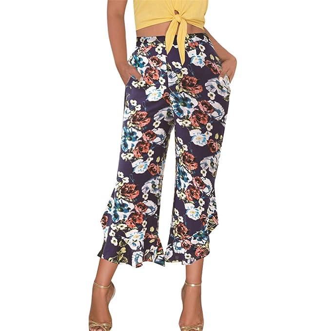 prezzo più basso e69a3 79bca Bluestermall Pantaloni Floreali da Donna Leggeri Casual ...