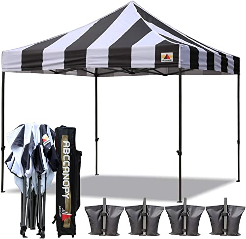 ABCCANOPY Canopy Tent 10 x 10 Pop Up Canopy Outdoor Commercial Canopies with Roller Bag Bonus 4 Weight Bags, Strip Black