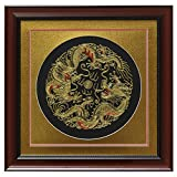 China Furniture Online Silk Embroidery Frame, Double Gold Dragon Motif on Black Background
