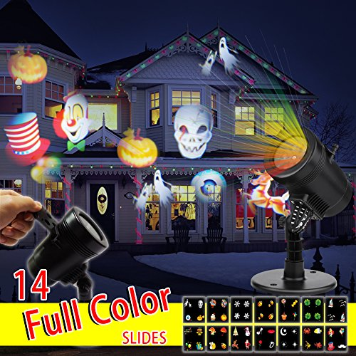New 2017 Christmas Light Projector LED 14 Switchable Patterns Indoor and Outdoor Mini Spotlight for Child Birthday Gift Xmas Hallowmas Holiday Wedding Party (Halloween Party Clubs In Dc)