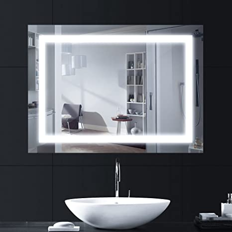lebright bathroom mirror with lights 80x60cm 18w led bathroom mirror rh amazon co uk
