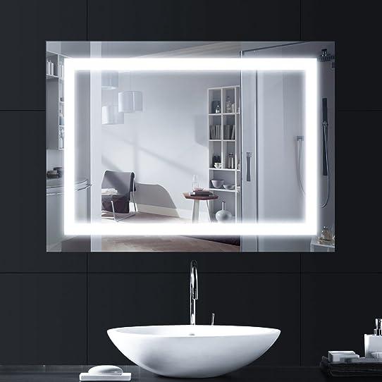 ANSCHE 800*600mm 6000k lumière LED miroir salle de bains pour ...
