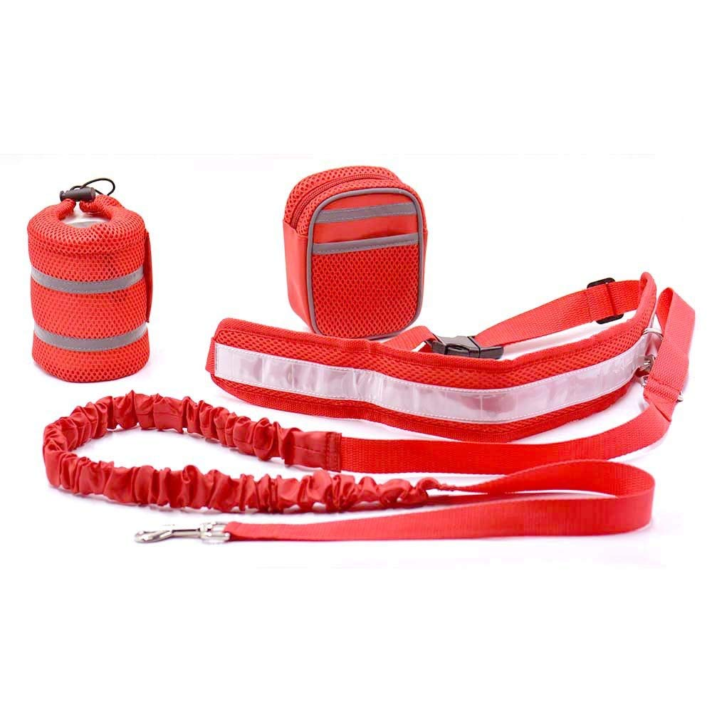 Eulan Starworld Hands Free Dog Leash Belt Kit, Adjustable Reflective Traction Waist Rope Kit for Running Jogging or Walking (Red) Reflective