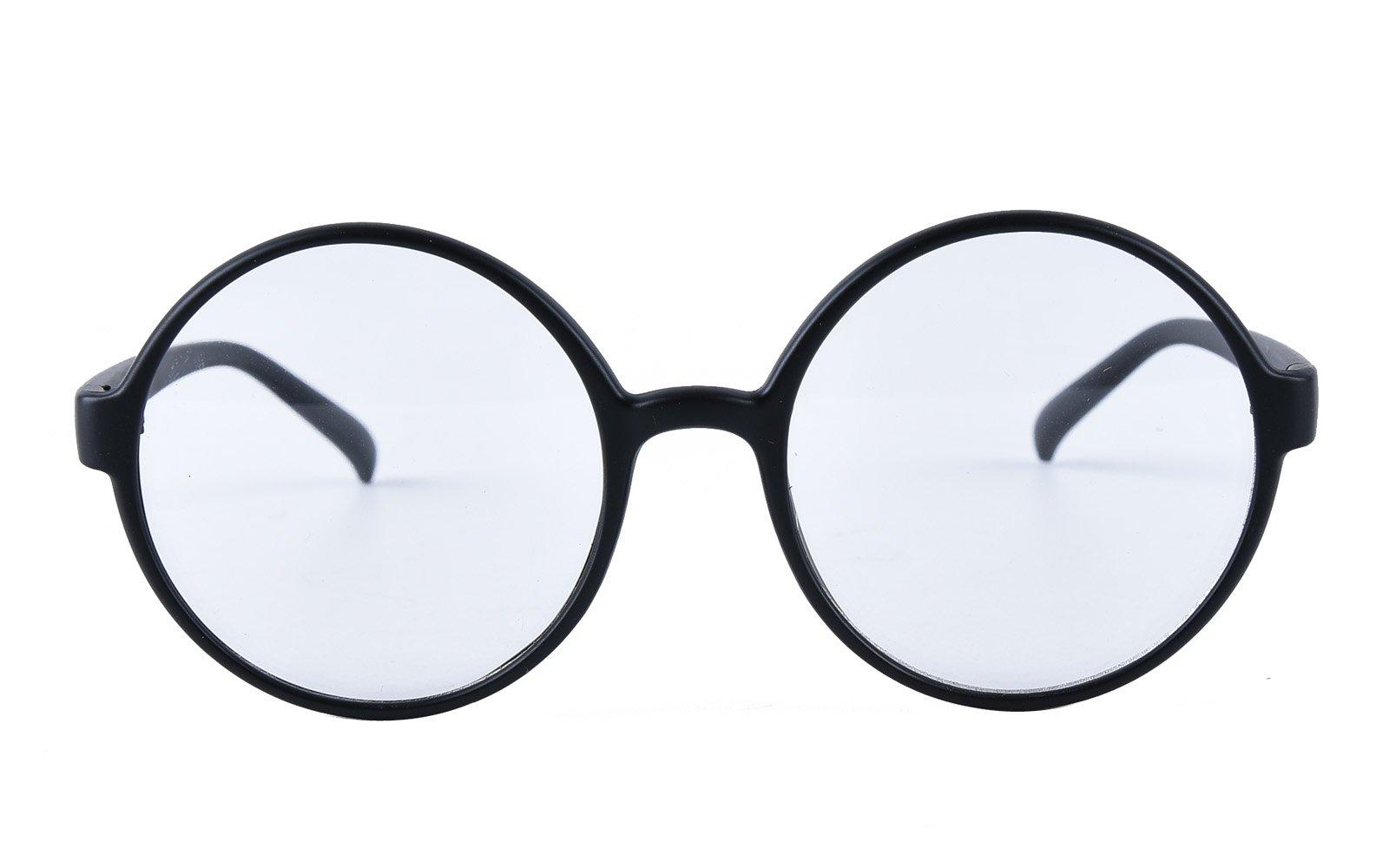 Agstum Retro Round Glasses Frame Clear Lens Fashion Circle Eyeglasses 52mm (Matte black, 52mm) by Agstum