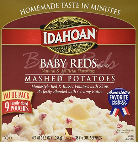 Red Potato (IDAHOAN BABY REDS Gluten Free Instant Mashed Potatoes (9 FAMILY-SIZED Pouches Box Net Wt 36.9 OZ):)