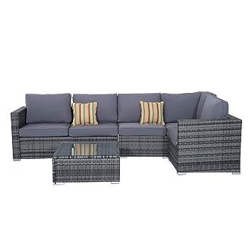 Outsunny ratán sofá conjunto 4 piezas Patio acolchado sofá de esquina mesa de café Tejido de mimbre al aire libre muebles de jardín marco de aluminio ...