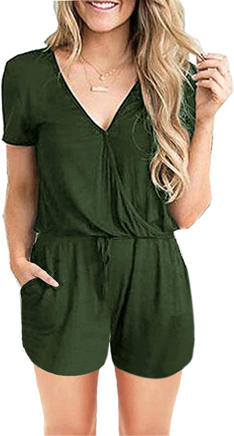 Womens Deep V Jumpsuit Loose Solid Cotton Romper Short Sleeve Wide Leg Playsuits