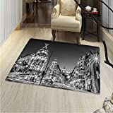 Black White Small Rug Carpet Madrid City at Nighttime in Spain Main Street Ancient Architecture Door mat Indoors Bathroom Mats Non Slip 2'x3' Black White Grey