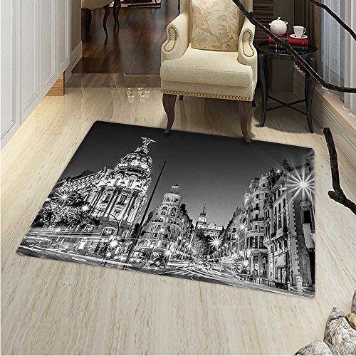 Black White Small Rug Carpet Madrid City at Nighttime in Spain Main Street Ancient Architecture Door mat Indoors Bathroom Mats Non Slip 2'x3' Black White Grey by Anhounine