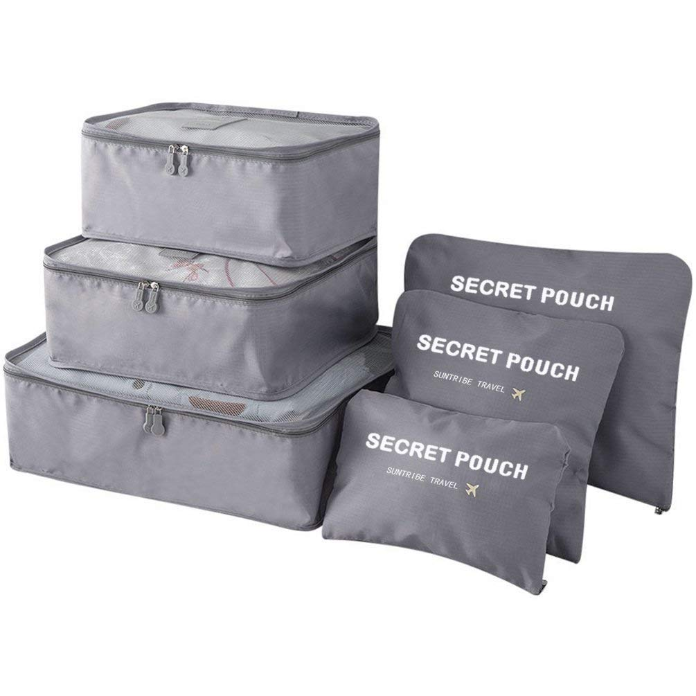OxbOw Polyester & Nylon Packing Cubes (Set of 6) (Grey_Packing Cubes 6 IN 1)