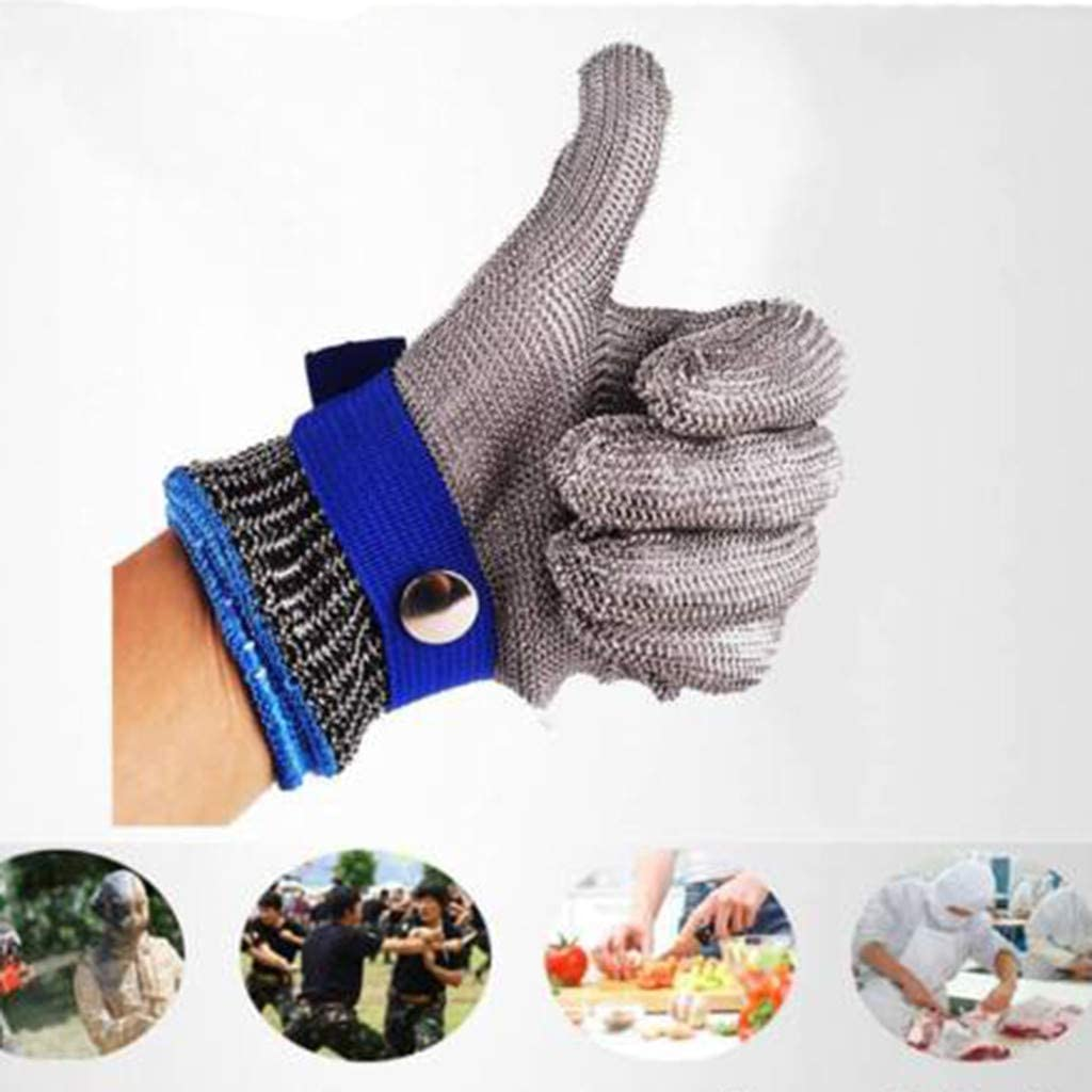 Grating FunDiscount Stainless Steel Metal Wire Mesh Gloves Kitchen Safety Hand Protection Gloves Butcher Cutting Gloves for Meat Cutting Red,Medium Fish Fillet Slicing Cut Resistant Gloves