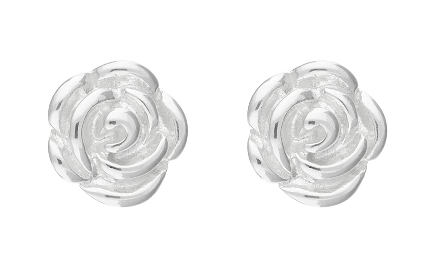 Adara Rose Stud Sterling Silver Earrings 0fGHpGW