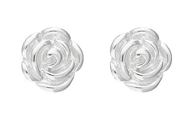 2eba9d2f2 Adara Rose Stud Sterling Silver Earrings: Amazon.co.uk: Jewellery