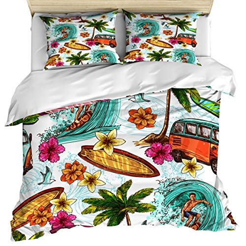 Ocean 3 Piece Bedding Set Comforter Cover Full Size, Hawaiian Surfer on Wavy Deep Sea Retro Palm Trees Flowers Surf Boards, Duvet Cover Set with Zipper Closure for Childrens/Kids/Teens/Adults
