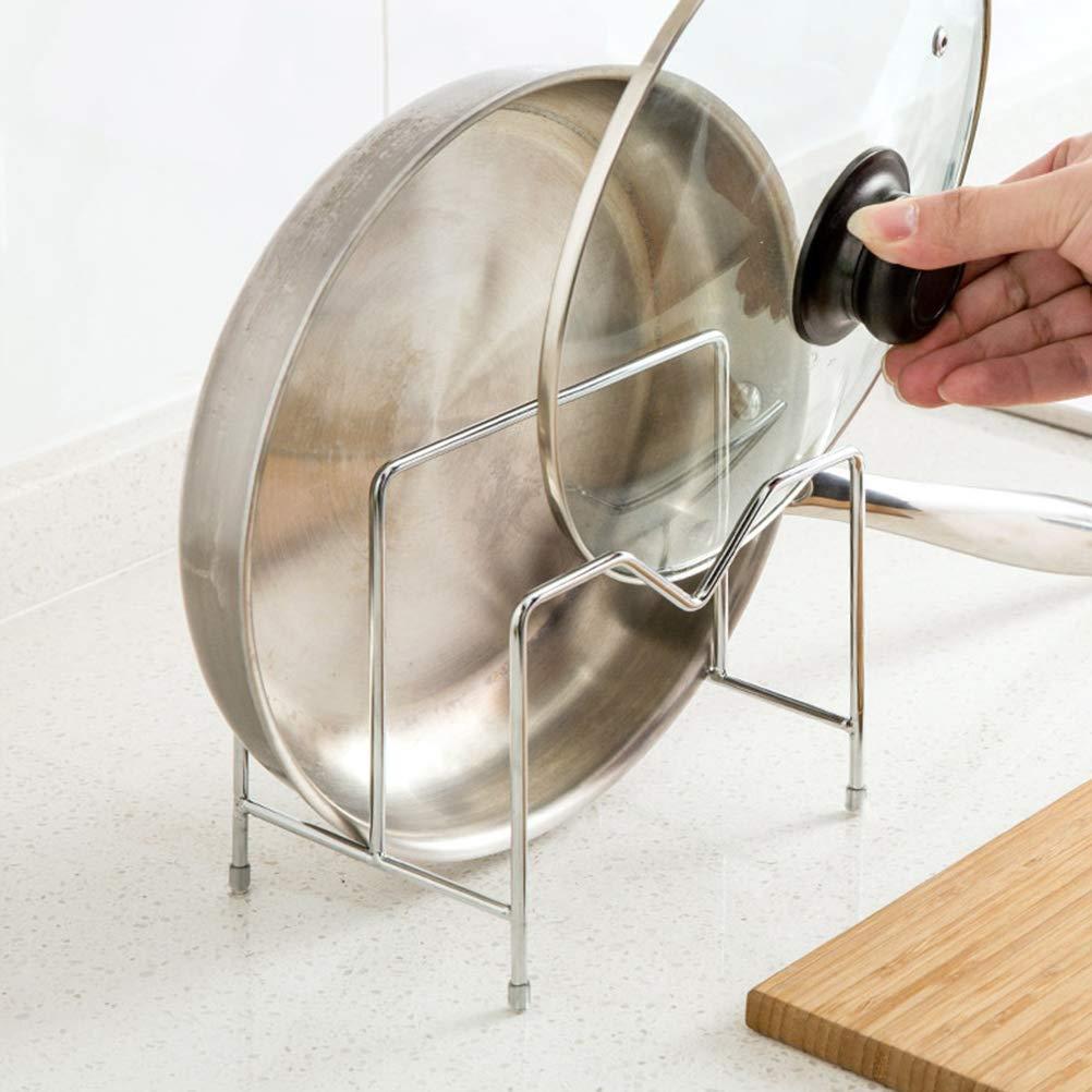 Yardwe Supporto per tagliere in acciaio inox,portaoggetti per pentole con coperchio portaoggetti da cucina Porta padelle e pentole