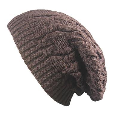 442a2119fb8 Leisial Winter Warm Hat Hand Knitting Cap Elegant Design Solid Color Basin  Cap Hop-Hop