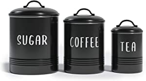 Barnyard Designs Set of 3 Decorative Nesting Kitchen Canisters, Airtight Containers with Lid, Rustic Farmhouse Sugar, Coffee, and Tea Storage for Kitchen Counter, Black, Largest Measures 6.25
