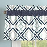 Carousel Designs Navy and Gray Geometric Window Valance Rod Pocket