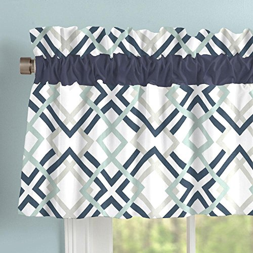 Carousel Designs Navy and Gray Geometric Window Valance Rod Pocket by Carousel Designs