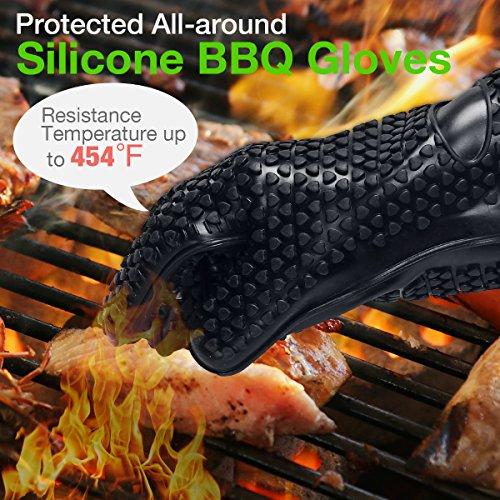 Housmile BBQ Grilling Cooking Gloves with Pork Meat Claws, Grill Brush & Kitchen Tong, Silicone Gloves Heat Resistant Up to 446F, Non-Slip 4-Piece BBQ Grill Accessories for Barbecue Party, Baking by Housmile (Image #2)