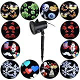 Christmas Projector Lights-12 Pattern Waterproof Outdoor Projection Lights for Christmas Halloween Holiday Party Valentine's Day Birthday Wall Motion Decoration (multicolored)