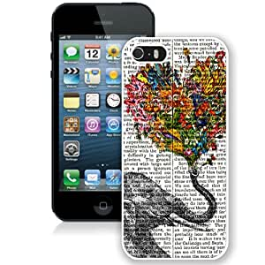 Beautiful And Unique Designed Case For iPhone 5 With Vintage Newspaper Aztec Elephant Floral Trunk Design Rubber White Phone Case
