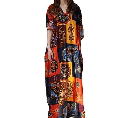 66e8016bb7 Reaso Femme Rétro Robe Longue Col V Coton Lin Grande Taille Manche Longue  Imprime Vintage Elegant