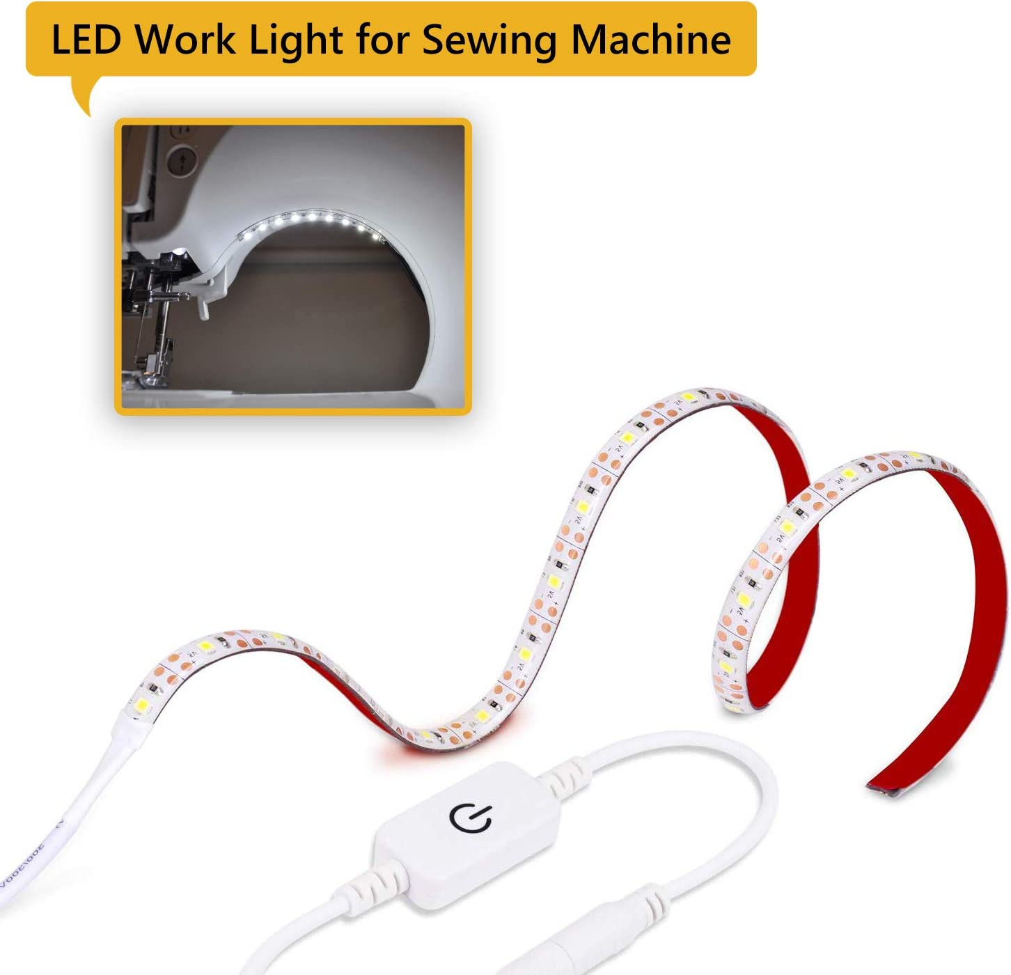 Baby Cribs Kitchen Cabinet Sewing Machine Light Strip,11.4 inch LED Strip Lights 18 LEDs Sewing Work Light Kit with Touch Dimmer,5V USB Power and Adhesive Clips,Fits All Sewing Machines
