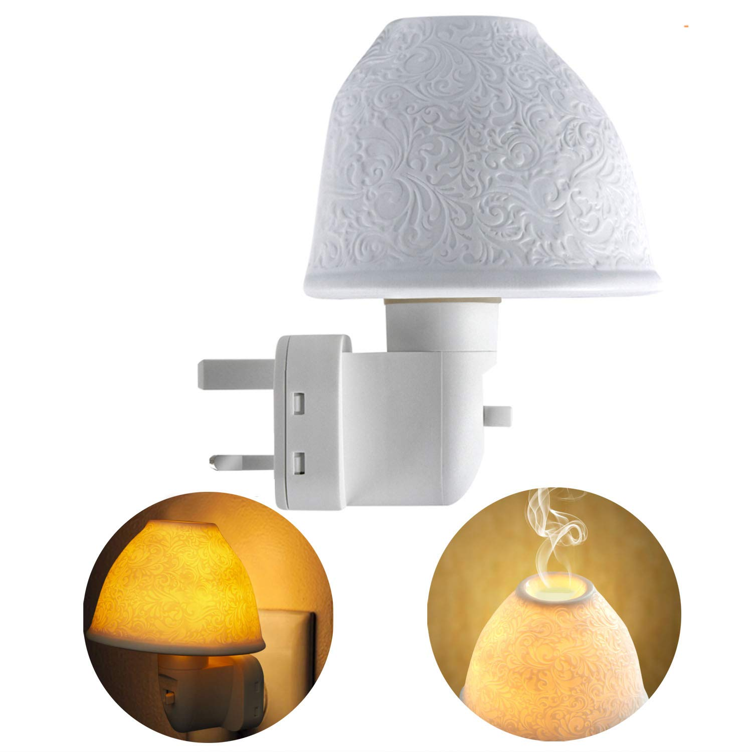 2 in 1 ceramic Aroma oil lamp plug in and night light