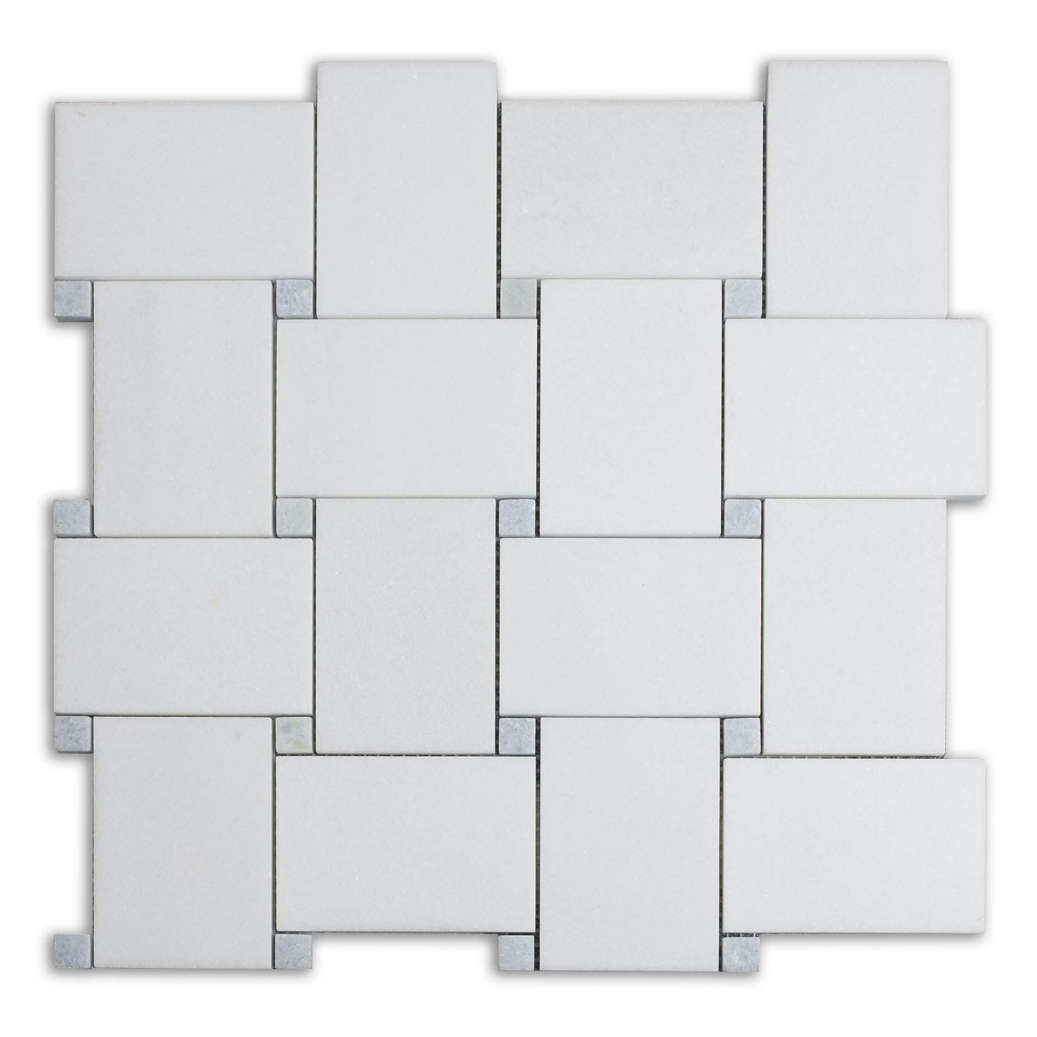 Pollished Bold Basketweave Marble Mosaic Tiles with Greek Thassos White Marble & Blue Celest Marble|Bathroom & Kitchen Backsplash Wall |5-Sheet Box