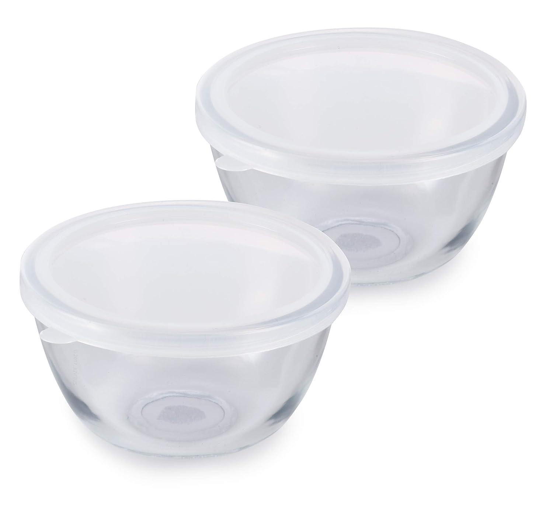 小型透明ガラス食品保存ボウル 気密プラスチック蓋付き 500mL / 17液量 容量オンス (2パック)。   B07H2PB65M