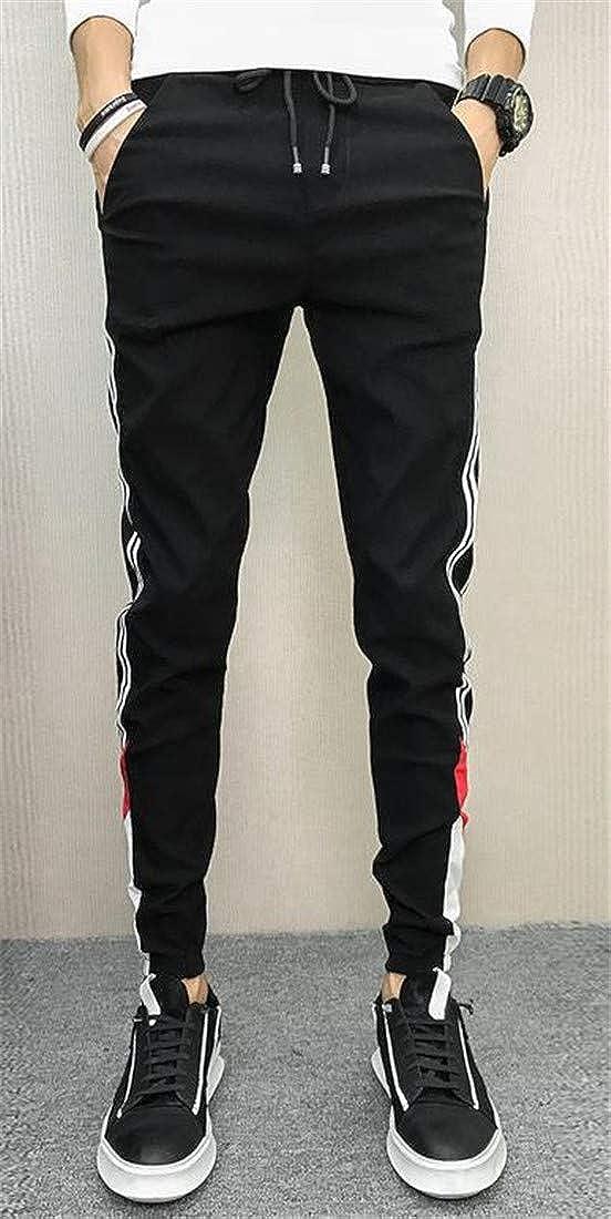 Sayhi Mens Casual Stripe Straight Elastic Waist Color Block Pants