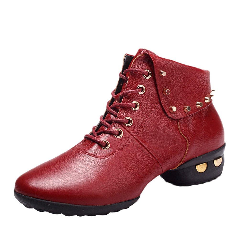 YouPue Femmes Rivets Baskets De Danse Cuir Sneaker Semelles Souples Modern Lacets Chaussures Solide Couleur